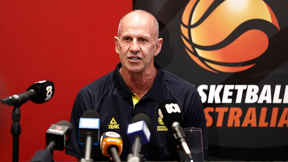 Brian Goorjian addresses media after being confirmed as the new coach of the Boomers.