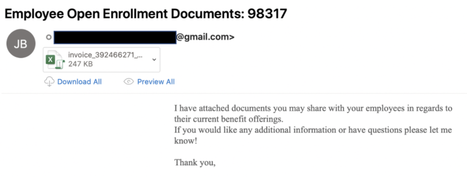 Screenshot of a scam containing fake documents hosted on a Google platform