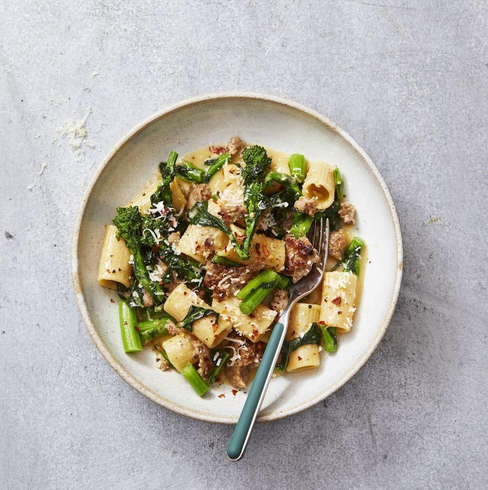 """<p>The classic combo is ideal for date night.</p><p><em><a href=""""https://www.goodhousekeeping.com/food-recipes/a30472833/rigatoni-pasta-with-sausage-broccoli-rabe-recipe/"""" rel=""""nofollow noopener"""" target=""""_blank"""" data-ylk=""""slk:Get the recipe for Rigatoni With Sausage and Broccoli Rabe »"""" class=""""link rapid-noclick-resp""""><em>Get the recipe for </em>Rigatoni With Sausage and Broccoli Rabe »</a></em></p>"""