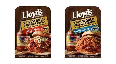 Lloyd's® Pecanwood Smoked Pulled Pork and Hickory Hardwood Smoked Pulled Chicken with Pig Beach Mustard BBQ Sauce