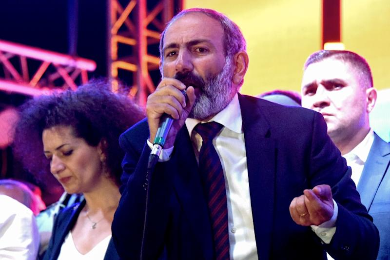 Armenian opposition leader Nikol Pashinyan has called a general strike after parliament rejected his bid to become prime minister (AFP Photo/Vano Shlamov)