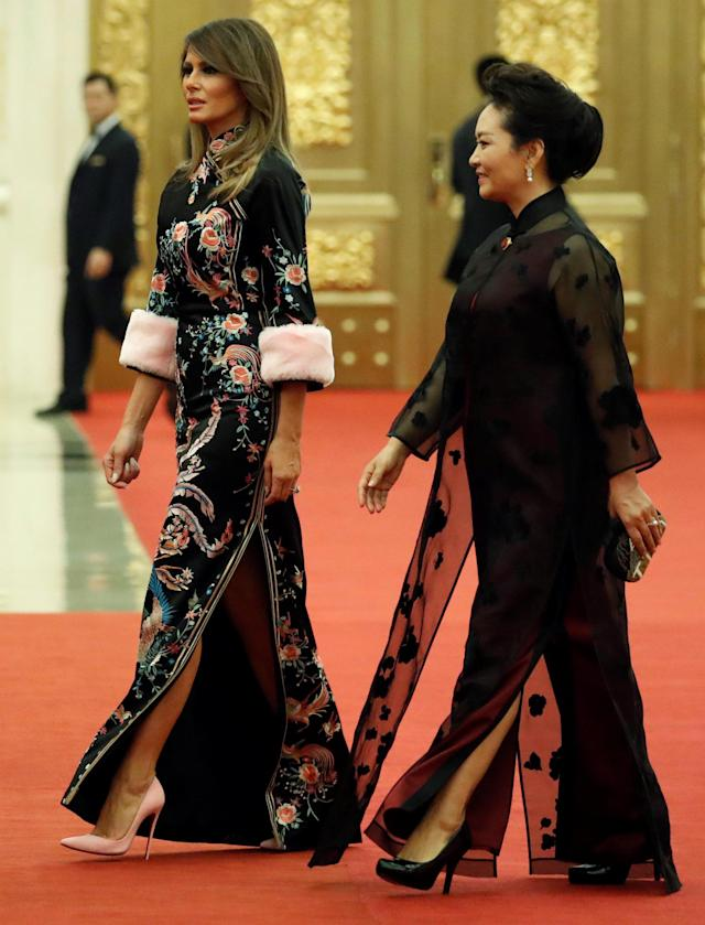 First lady Melania Trump and Peng Liyuan, wife of China's president, Xi Jinping, arrive at a state dinner in honor of President Trump at the Great Hall of the People in Beijing on Nov. 9. (Photo: Reuters/Jonathan Ernst)
