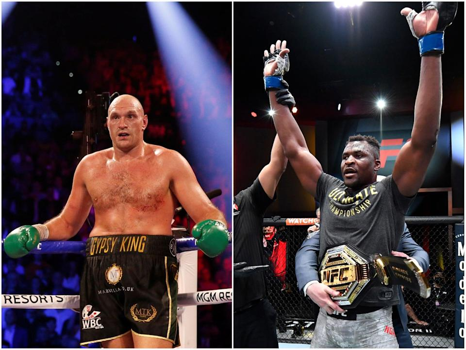 Might the boxing and UFC heavyweight champions one day meet in the ring?  (Getty)