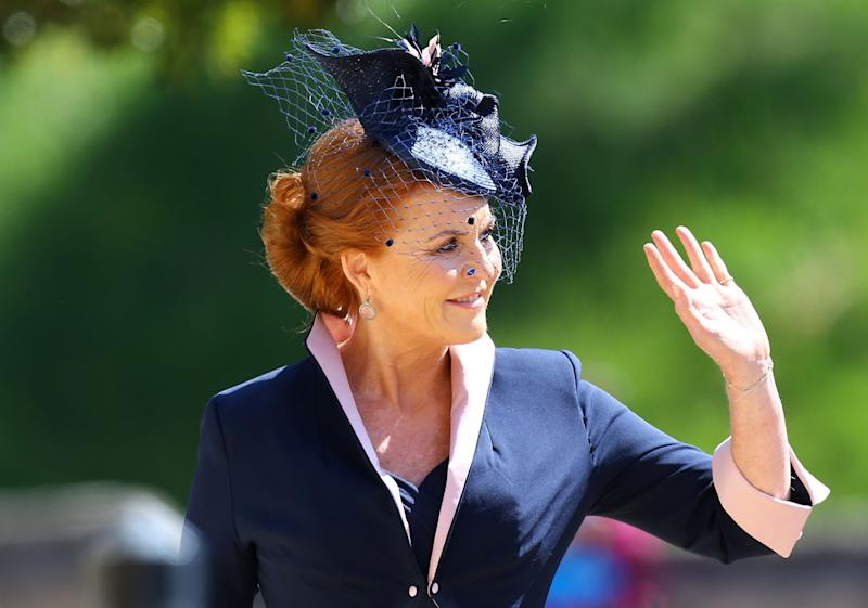 The mother of princesses Beatrice and Eugenie made a rare public appearance to celebrate her nephew's wedding.
