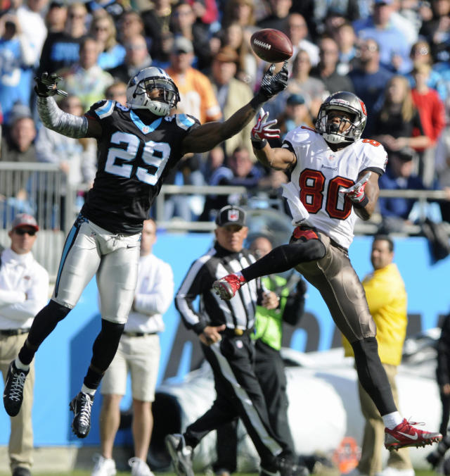 Carolina Panthers' Drayton Florence (29) knocks the ball from Tampa Bay Buccaneers' Chris Owusu (80) in the first half of an NFL football game in Charlotte, N.C., Sunday, Dec. 1, 2013. (AP Photo/Mike McCarn)
