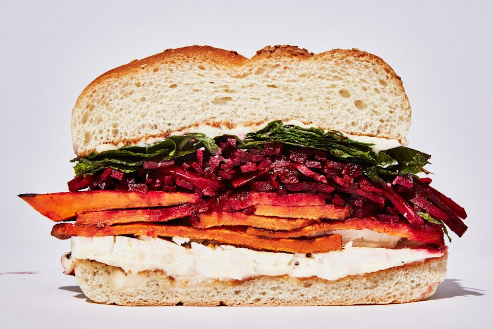 "There's one trick to this stunning beet and sweet potato sandwich: You need to season each component really well. <a href=""https://www.epicurious.com/recipes/food/views/spiced-sweet-potato-sandwich-with-feta?mbid=synd_yahoo_rss"" rel=""nofollow noopener"" target=""_blank"" data-ylk=""slk:See recipe."" class=""link rapid-noclick-resp"">See recipe.</a>"