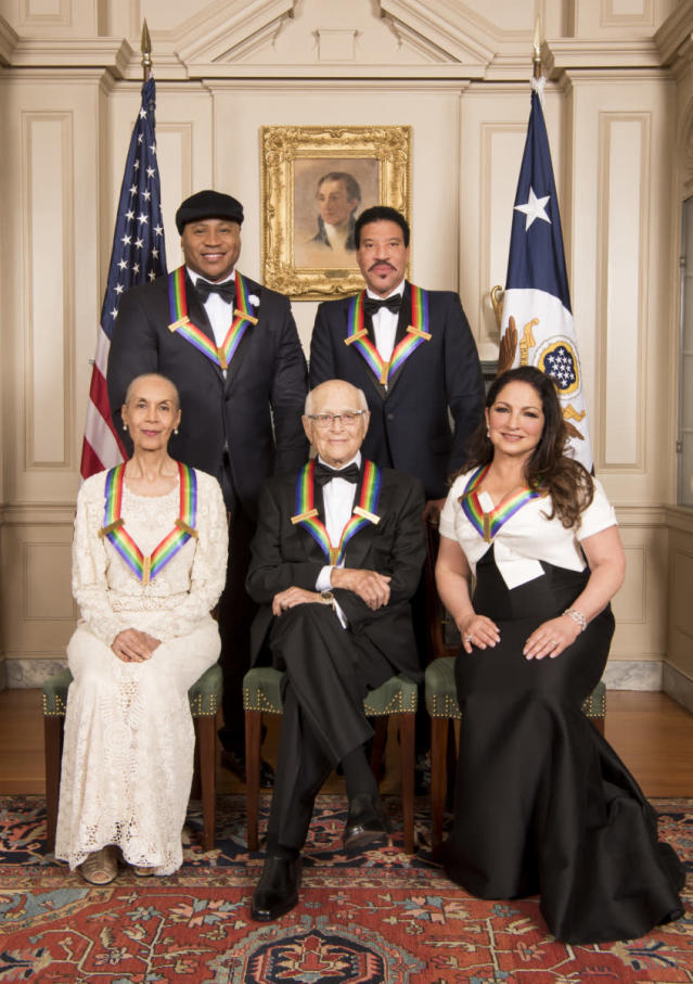 This year's Kennedy Center honorees, from left: dancer Carmen de Lavallade, rapper and actor LL Cool J, television writer and producer Norman Lear, musician Lionel Richie, and singer-songwriter Gloria Estefan. (Photo: John P. Filo/CBS)