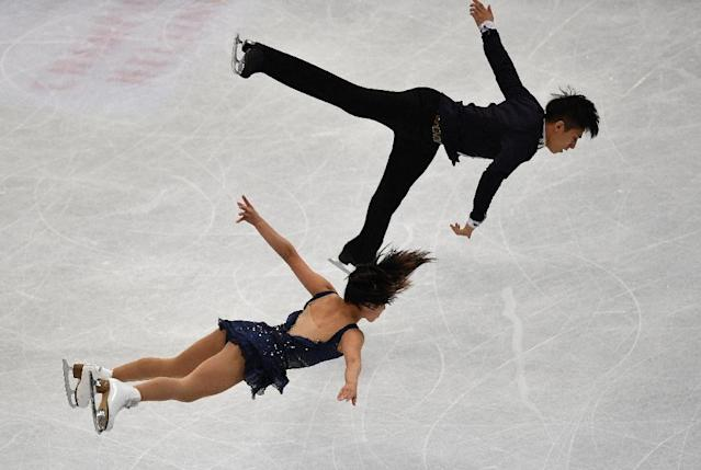 China's Sui Wenjing and Han Cong perform during the pairs short program of the ISU World Figure Skating Championships 2017 on March 29, 2017 in Helsinki (AFP Photo/Daniel MIHAILESCU)