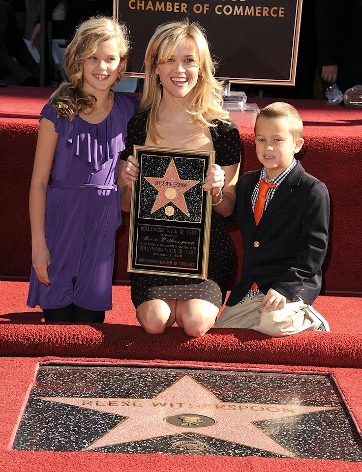 """<a href=""""http://movies.yahoo.com/movie/contributor/1800018812"""">Reese Witherspoon</a> and children attend her Hollywood Walk of Fame star ceremony on December 1, 2010."""