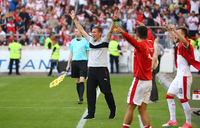 Football Soccer - VfB Stuttgart v Wurzburger Kickers - 2. Bundesliga - Mercedes-Benz Arena, Stuttgart, Germany - 21/5/17 VfB Stuttgart coach Hannes Wolf celebrates after Daniel Ginczek scored their fourth goal Reuters / Kai Pfaffenbach Livepic DFL RULES TO LIMIT THE ONLINE USAGE DURING MATCH TIME TO 15 PICTURES PER GAME. IMAGE SEQUENCES TO SIMULATE VIDEO IS NOT ALLOWED AT ANY TIME. FOR FURTHER QUERIES PLEASE CONTACT DFL DIRECTLY AT + 49 69 650050.