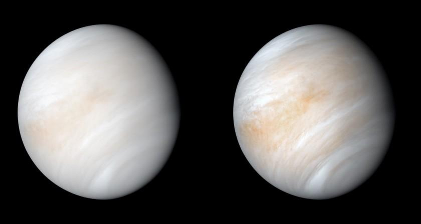 "A computer-processed image of Venus first captured by NASA's Mariner 10 spacecraft in 1974. The contrast-enhanced version, right, makes features in the planet's thick cloud cover visible in greater detail. <span class=""copyright"">(NASA / JPL-Caltech)</span>"