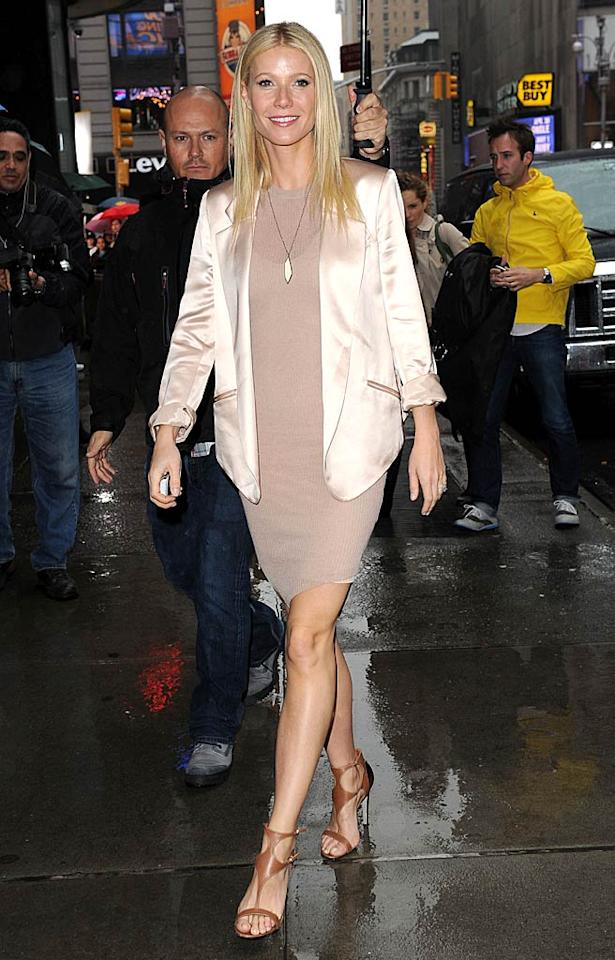 """Also spotted sporting the springtime shade ... Gwyneth Paltrow, who appeared on """"Good Morning America"""" in a blush Alexander Wang frock, silk blazer, and sexy Sergio Rossi heels. Doug Meszler/<a href=""""http://www.splashnewsonline.com"""" target=""""new"""">Splash News</a> - April 13, 2011"""
