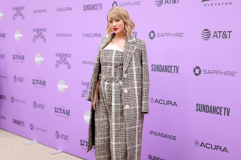 "Taylor Swift attends the premiere of ""Miss Americana"" at the Sundance Film Festival on Jan. 23 in Park City, Utah. (Photo: Neilson Barnard via Getty Images)"