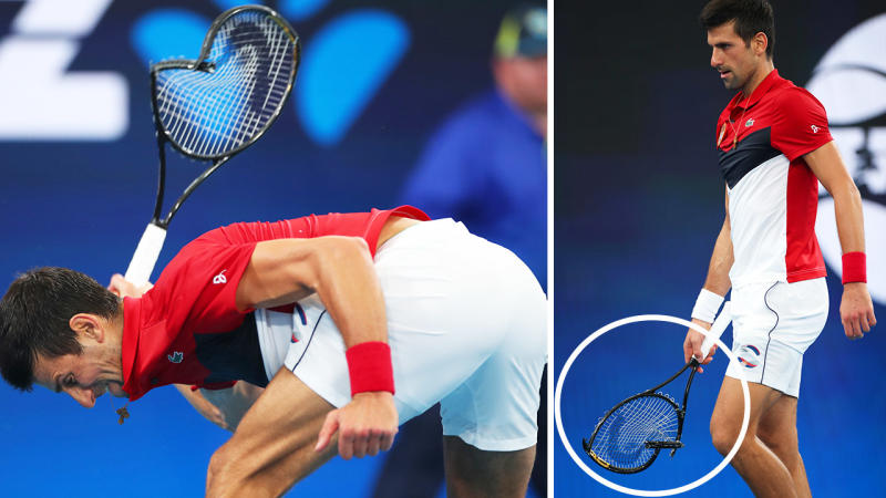 Novak Djokovic, pictured here smashing his racquet during his match at the ATP Cup.