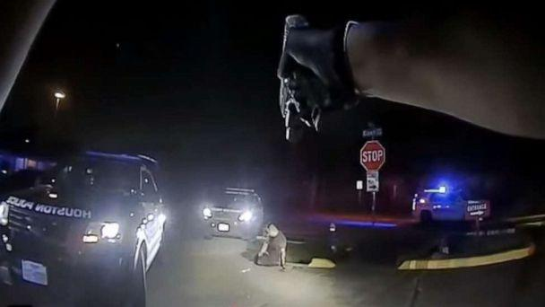 PHOTO: Nicolas Chavez, seen in body-camera footage provided by the Houston Police Department of the shooting incident on April 21, 2020. The department highlighted a stun gun that Chavez could later be seen grabbing. (Houston Police Department)