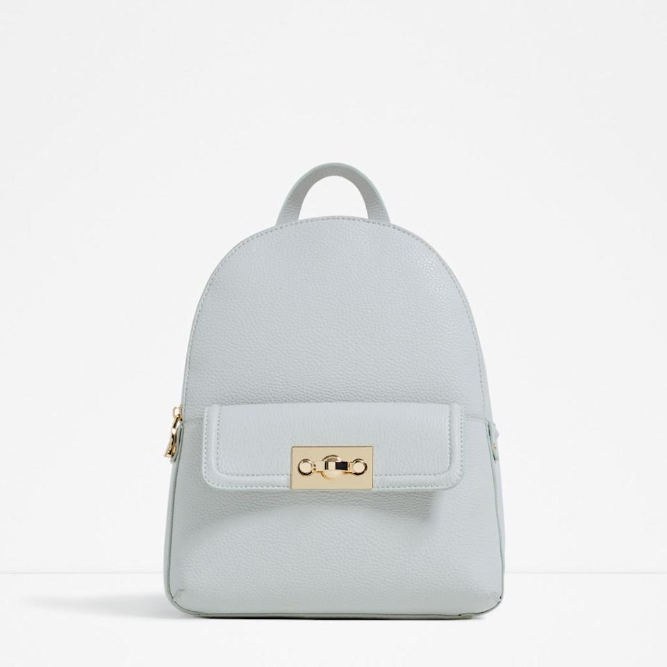 """<p><i><a href=""""http://www.zara.com/uk/en/woman/bags/view-all/backpack-with-zip-c819022p3248565.html"""">[Zara, £35.99]</a></i><br /></p>"""