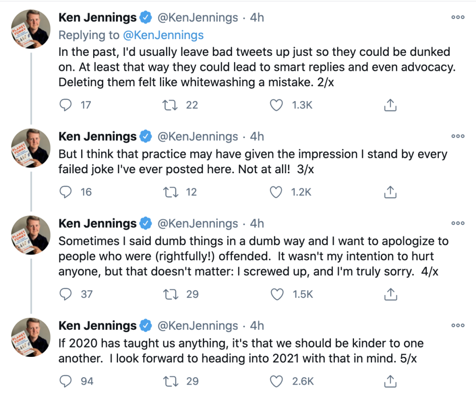Ken Jennings posted a series of tweets apologizing to anyone who was offended on social media.  (Photo: Twitter)