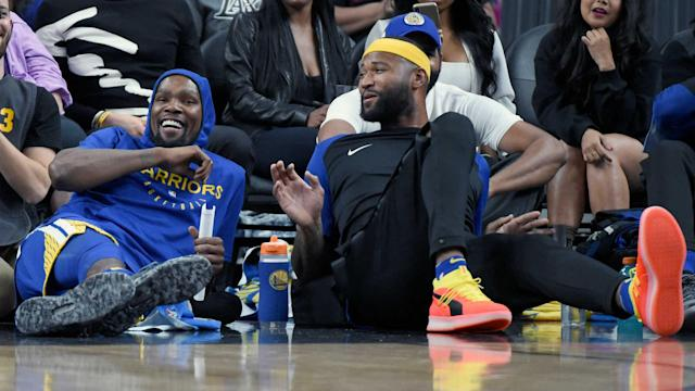 Having been missing since the first round of the playoffs, Kevin Durant and DeMarcus Cousins continue to work towards a return.