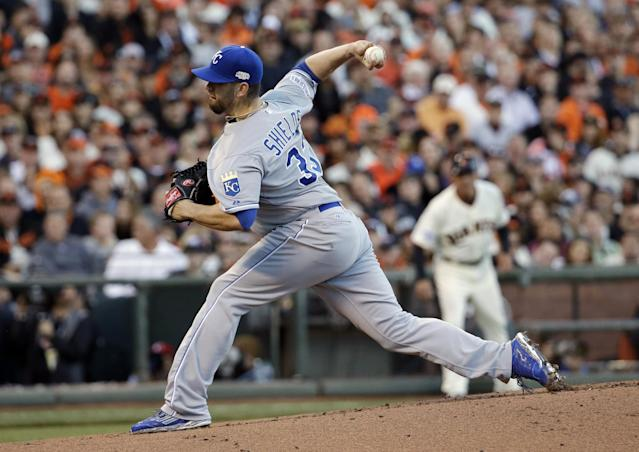 Kansas City Royals pitcher James Shields throws during the first inning of Game 5 of baseball's World Series against the San Francisco Giants Sunday, Oct. 26, 2014, in San Francisco. (AP Photo/David J. Phillip)