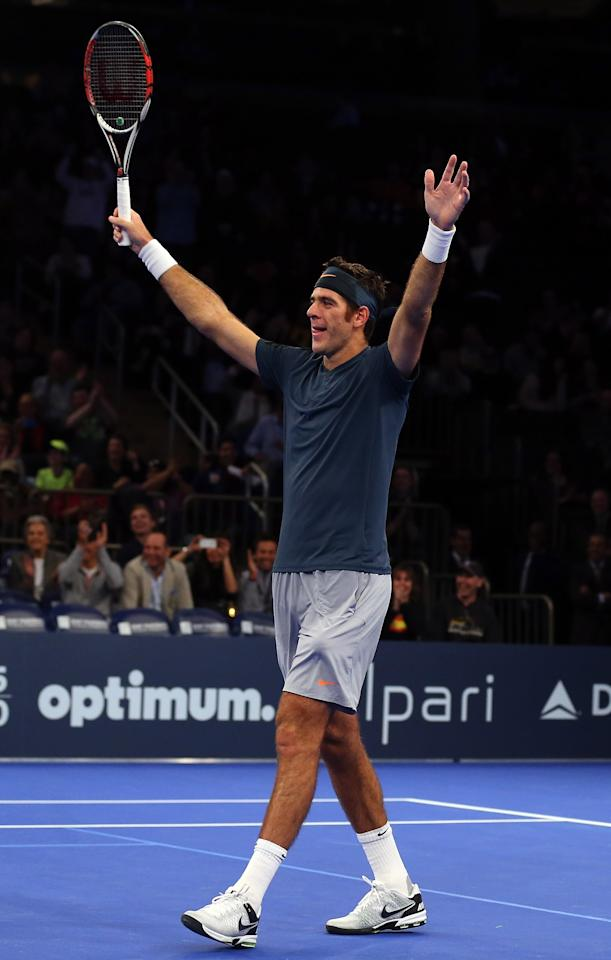 NEW YORK, NY - MARCH 04:  Juan del Potro of Argentina celebrates a point over the doubles team of Ben Stiller and Rafael Nadal of Spain during the BNP Paribas Showdown on March 4, 2013 at Madison Square Garden in New York City.  (Photo by Elsa/Getty Images)