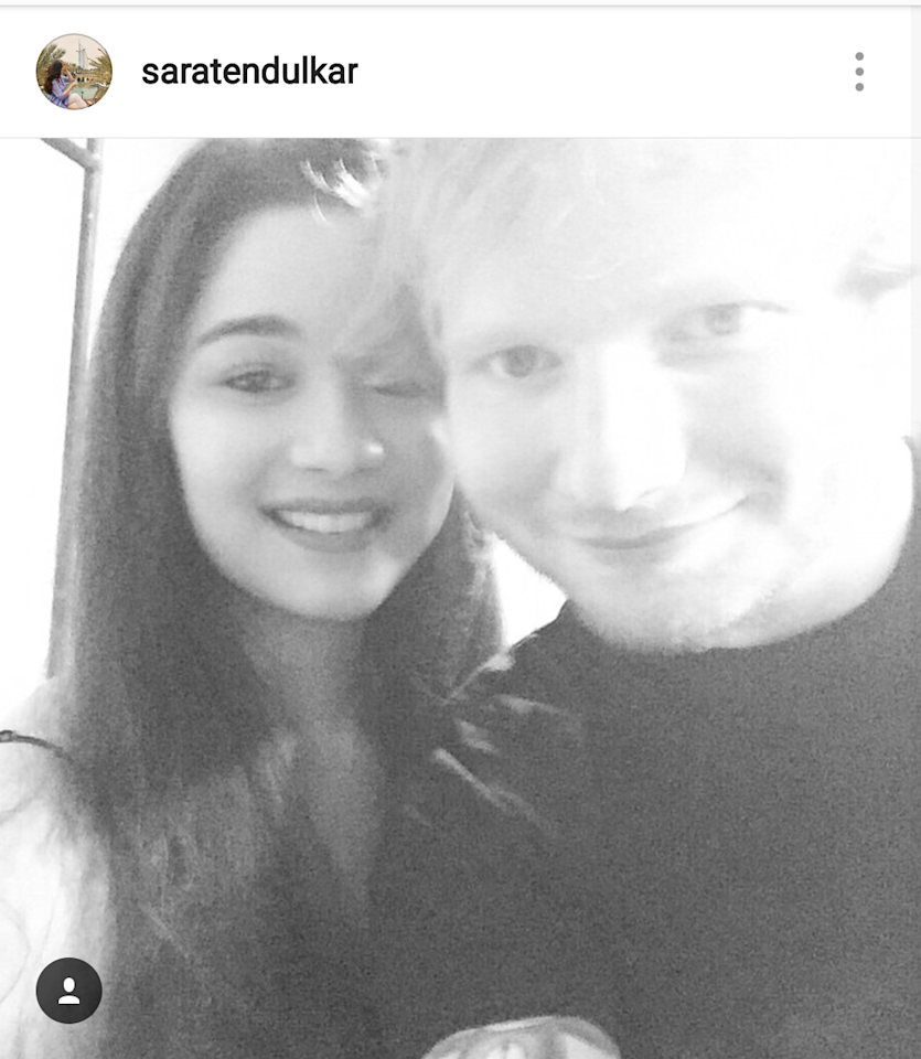 <p>Seizing every fraction of her fangirl moment like any of us, this throwback picture of the celeb-child with Ed Sheeran, has us convinced that Sachin Tendulkar's daughter is every bit our favorite girl next door. </p>