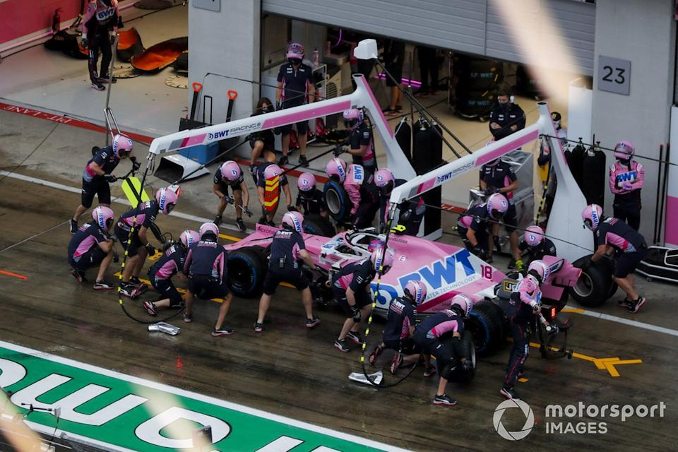 """Lance Stroll, Racing Point RP20 pit stop<span class=""""copyright"""">Steven Tee / Motorsport Images</span>"""