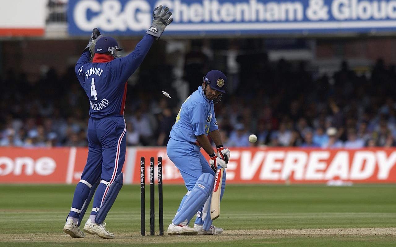 LONDON, ENGLAND - JULY 13:  Virender Sehwag of India is bowled out by Ashley Giles of England during the match between England and India in the NatWest One Day Series Final at Lord's in London, England on July 13, 2002. (Photo by Tom Shaw/Getty Images)