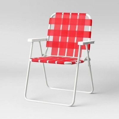 """<p><strong>Sun Squad</strong></p><p>target.com</p><p><strong>$20.00</strong></p><p><a href=""""https://www.target.com/p/webstrap-beach-chair-red-sun-squad-8482/-/A-76501454"""" rel=""""nofollow noopener"""" target=""""_blank"""" data-ylk=""""slk:Sit a Spell"""" class=""""link rapid-noclick-resp"""">Sit a Spell</a></p><p>In the perfect ketchup-red, this lightweight, steel-framed pick is the perfect thing to tote to picnics and pot lucks all summer long. </p>"""