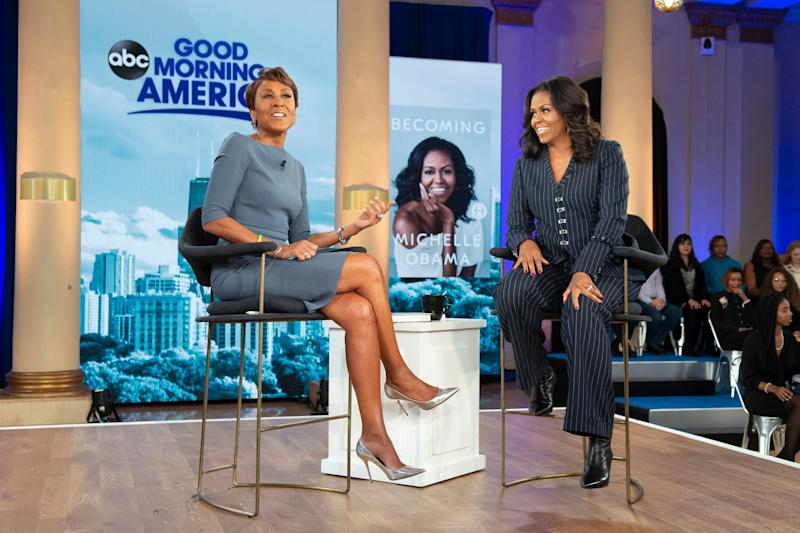 The former FLOTUS sits with Robin Roberts for an interview on Nov. 13 in Chicago.
