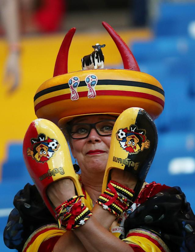 <p>Belgium fan inside the stadium before the match REUTERS/Sergio Perez </p>