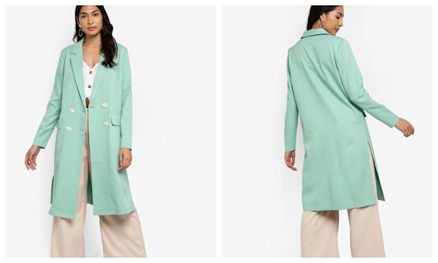 Longline Coat With Side Slits
