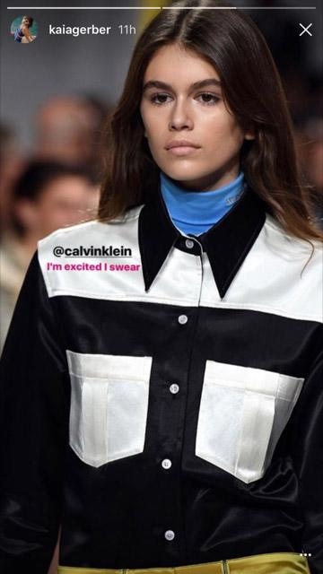 "<p>Kaia posted a second photo of her walk to model superstardom, writing, ""I'm excited I swear."" She's already got the catwalk pout down, doesn't she? (Photo: Kaia Gerber via Instagram Stories) </p>"