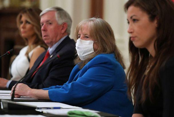 PHOTO: American Academy of Pediatrics President Dr. Sally Goza (C) attends a meeting with President Donald Trump, students, teachers and administrators about how to safely re-open schools, at the White House, July 07, 2020, in Washington, DC. (Chip Somodevilla/Getty Images)