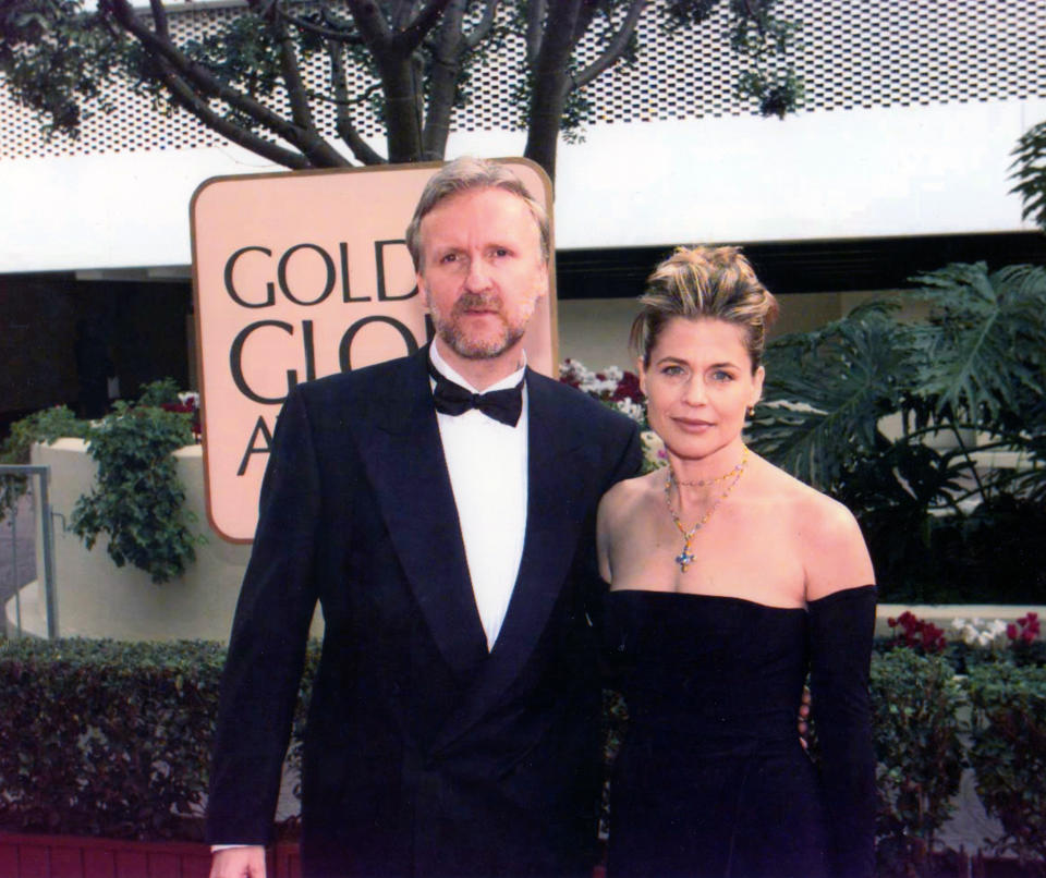 Portrait of married couple, director James Cameron and actress Linda Hamilton, as they pose together at the Beverly Hilton Hotel during the 55th Golden Globe Awards, Los Angeles, California, January 18, 1998. Cameron won the Best Director award for 'Titanic.' (Photo by Bob Riha, Jr./Getty Images)
