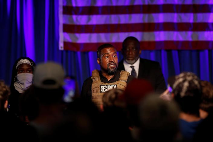 Rapper Kanye West holds his first rally in support of his presidential bid, in North Charleston, S.C., July 19, 2020. (Randall Hill/Reuters)