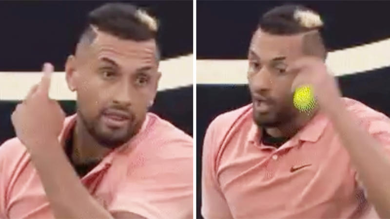 Nick Kyrgios brushing his ears as he openly mocks Rafael Nadal's serve at the Australian Open.
