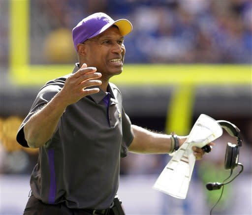 Minnesota Vikings head coach Leslie Frazier reacts during the second half of an NFL football game against the Indianapolis Colts in Indianapolis, Sunday, Sept. 16, 2012. (AP Photo/AJ Mast)