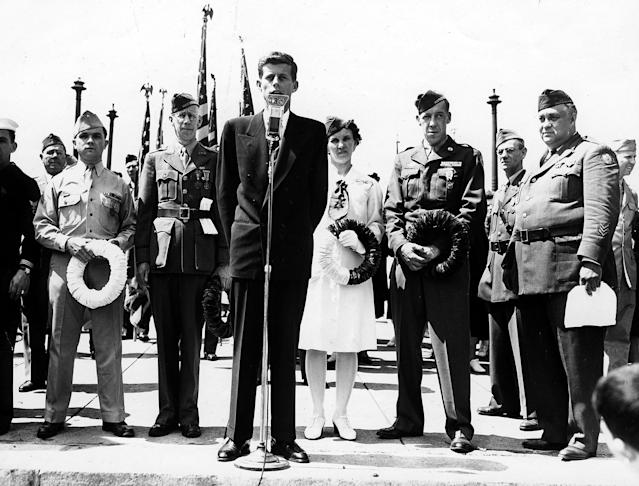 <p>John F. Kennedy speaks at Memorial Day services in Cambridge, Mass., in 1946. (Photo: John F. Kennedy Presidential Library and Museum) </p>