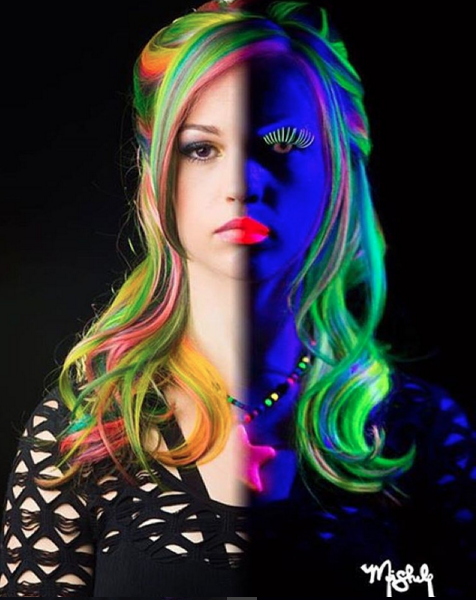 """<p>Things are getting a little more luminous on the hair front thanks to beauty-obsessives discovering <a href=""""https://www.manicpanic.com/high-voltage-cream-formula-hair-color"""" rel=""""nofollow noopener"""" target=""""_blank"""" data-ylk=""""slk:Manic Panic's glow-in-the-dark hair dye"""" class=""""link rapid-noclick-resp"""">Manic Panic's glow-in-the-dark hair dye</a>. It's been around, but this is the first time we're seeing it mashed up with the can't-stop-won't-stop <a href=""""https://www.yahoo.com/makers/rainbow-hair-at-home-its-possible-with-this-122980126845.html"""" data-ylk=""""slk:rainbow hair trend;outcm:mb_qualified_link;_E:mb_qualified_link;ct:story;"""" class=""""link rapid-noclick-resp yahoo-link"""">rainbow hair trend</a>. </p>"""
