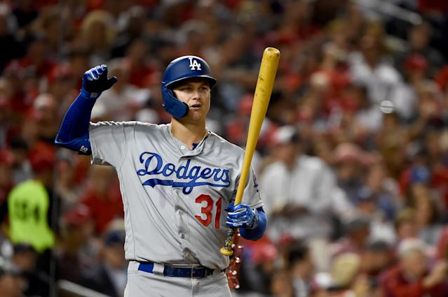 "<a class=""link rapid-noclick-resp"" href=""/mlb/players/9414/"" data-ylk=""slk:Joc Pederson"">Joc Pederson</a> is still a <a class=""link rapid-noclick-resp"" href=""/mlb/teams/la-dodgers/"" data-ylk=""slk:Dodger"">Dodger</a>. Awkward. (Will Newton/Getty Images)"