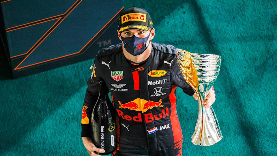 Max Verstappen is seen here celebrating his Abu Dhabi GP win.