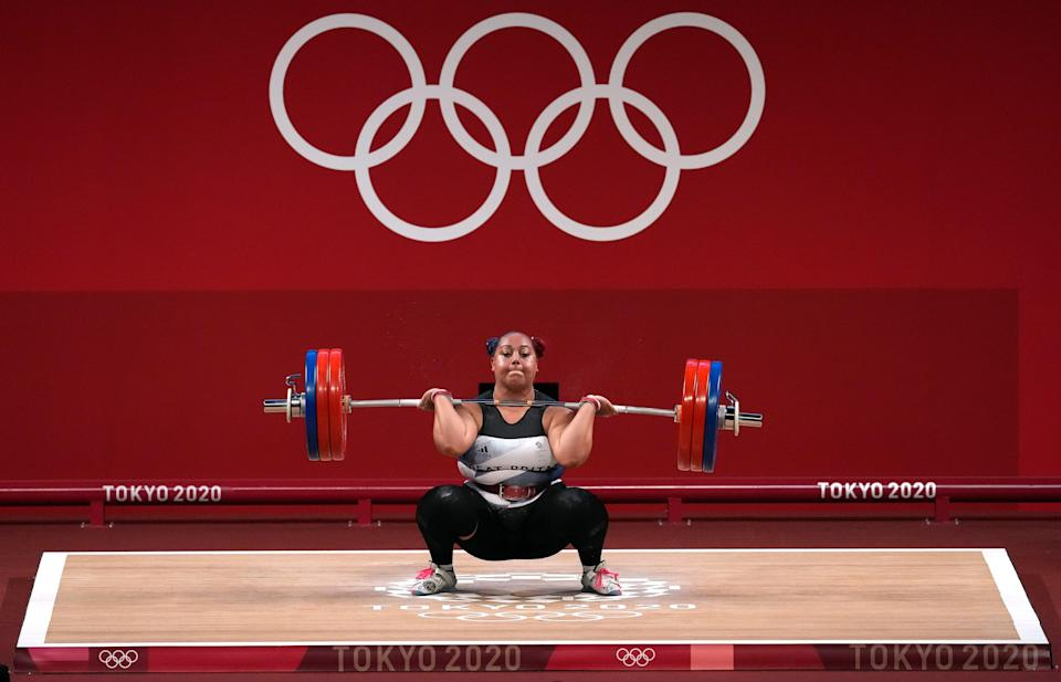 Emily Campbell during the +87 kg weightlifting at the Tokyo Olympic Games in Japan (PA) (PA Wire)