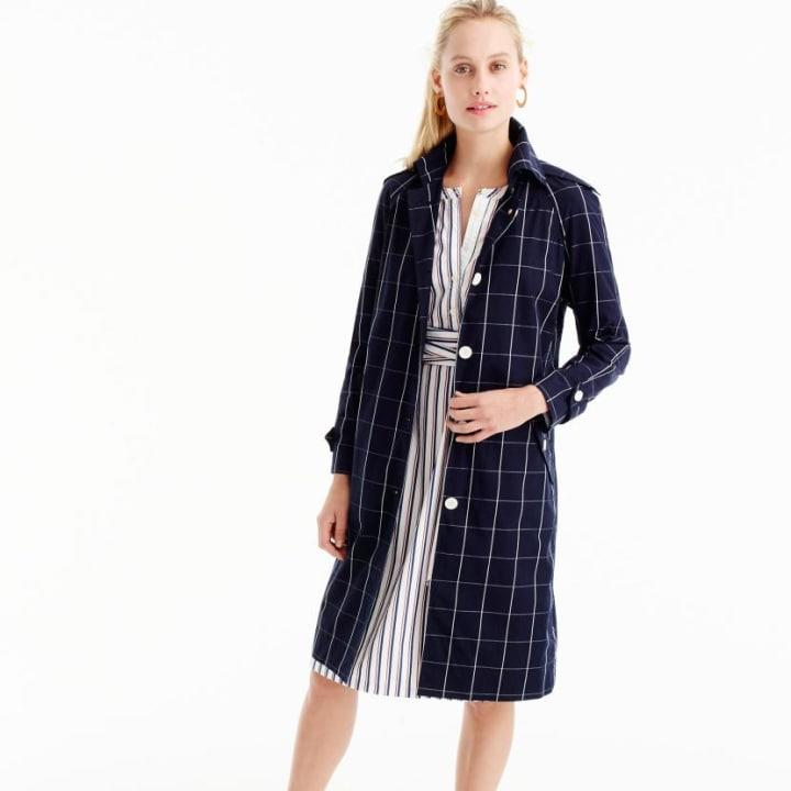 J.Crew Collection Trench Coat in Windowpane, $258; at J.Crew