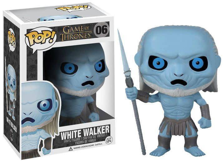 &quot;This excellent <span>Game of Thrones White Walker Pop! Vinyl Figure </span>features the frozen zombie as a stylized 3 3/4-inch tall Pop! Vinyl figure - complete with frozen blue body, creepy blue eyes, and spear. Ages 17 and up.&quot;