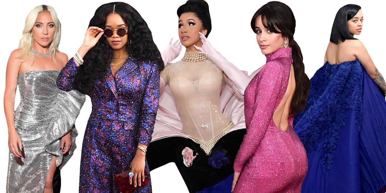 """<p>Music's biggest night of the year, the Grammys, has started in Los Angeles. As <a rel=""""nofollow"""" href=""""https://www.elle.com/fashion/celebrity-style/news/g25786/the-most-iconic-oscar-gowns-of-all-time/"""">in years past</a>, stars have brought their best statement gowns and suits to the red carpet. Here, what everyone from Miley Cyrus to Lady Gaga have worn to the ceremony.</p>"""