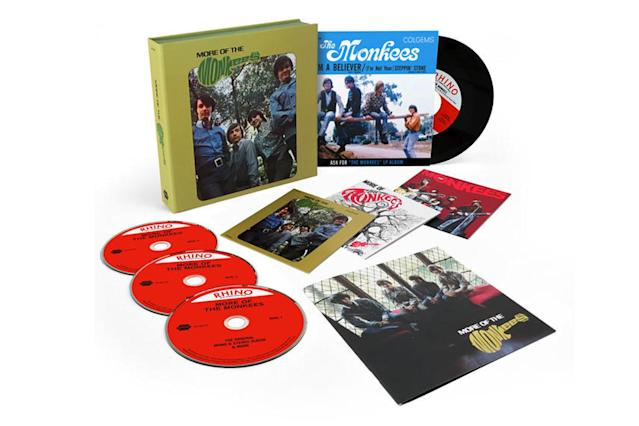 "<p>A three-disc reissue of the made-for-TV band's second, chart-topping 1967 album, this features 55 previously unreleased tracks, including some of the Monkees' earliest live recordings. The limited-edition run of 4,500 copies, featuring stereo and mono mixes of the album, comes housed in a 7-by-7-inch box with a 7-inch vinyl single of ""I'm a Believer"" with a vocal-only mix of ""(I'm Not Your) Steppin' Stone"" on the flip. If the Beatles are worthy of such expanded sets, then why not the Prefab Four? $60. (Photo: Rhino Entertainment) </p>"