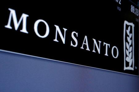 FILE PHOTO: Monsanto logo displayed on a screen where the stock is traded on the floor of the NYSE