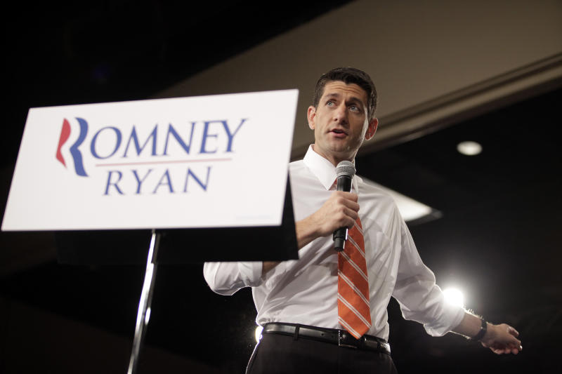 Republican vice presidential candidate, Rep. Paul Ryan, R-Wis. speaks, Monday, Sept. 24, 2012, at the Veterans Memorial Civic & Convention Center in Lima, Ohio. (AP Photo/J.D. Pooley)