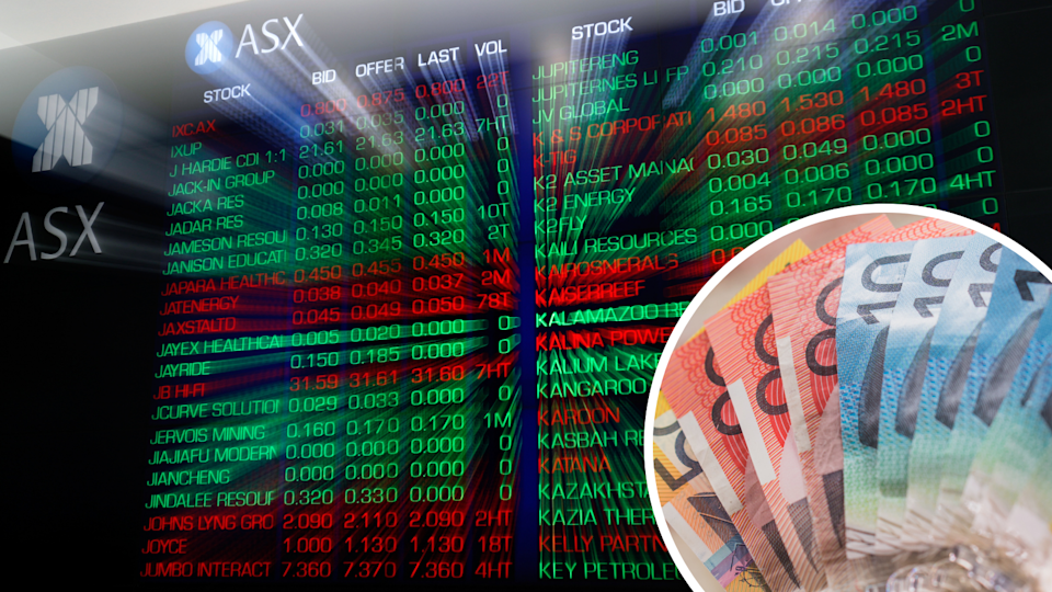 The ASX board and Australian currency.