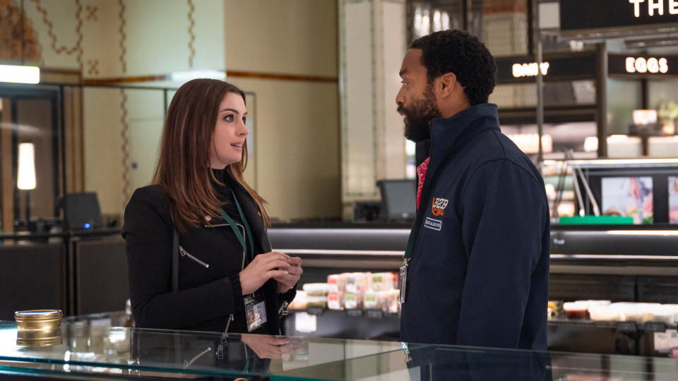 Anne Hathaway and Chiwetel Ejiofor attempt a Harrods heist in 'Locked Down'. (Credit: Susan Allnutt/Warner Bros)